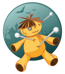 Scary voodoo doll illustration in cartoon style