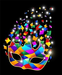 Maschera Arlecchino Brillante-Glitter Harlequin Mask-Vector
