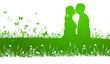 Silhouette Paar küssen grün