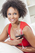 Mixed Race African American Girl Drinking Red Wine