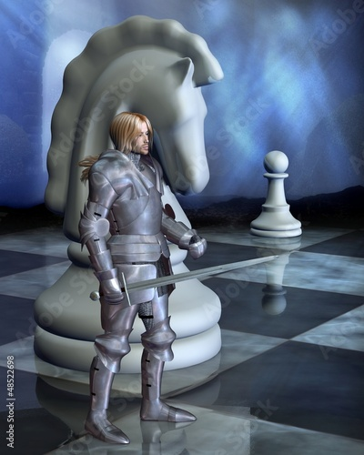 Poster Ridders Chess Pieces - the White Knight