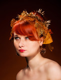Beauty portrait of red Hair female with luxurious Hair Style