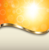 Abstract orange background with gold wave
