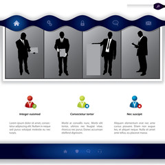 Website template with people presenting products