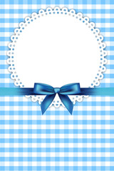 Vector blue frame with napkin and ribbon