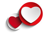 Valentine Day Heart on White Button