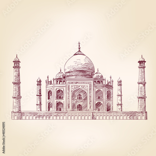 Taj Mahal, India vector illustration