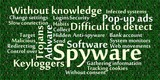 Spyware word cloud with data background poster