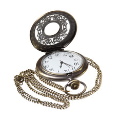 elegant pocket watch with open lid on a white background