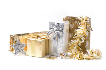 Gold and silver Christmas presents with decoration