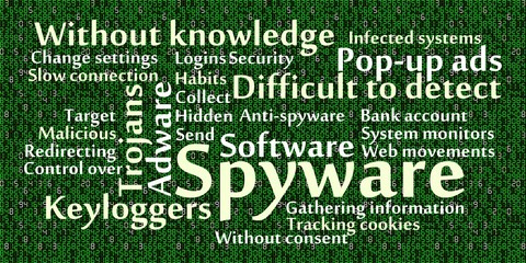 Spyware word cloud with data background
