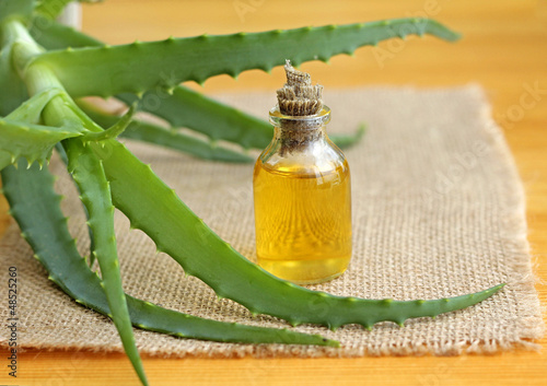 bottle of aloe vera oil, close-up