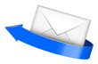 Vector illustration of envelope with blue arrow