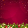 Christmas Dark Red Background With Stars And Fir Tree