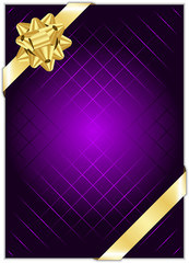 Vector purple background with gold bow