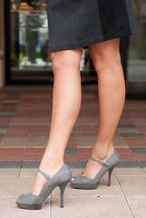 Grey High Heels and Black Skirt
