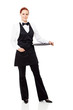 pretty waitress full length portrait with an empty tray