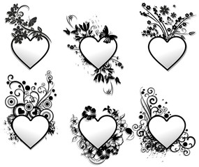 Love Hearts Ornamental Frames Set-Cuore Cornice Art Deco
