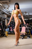Beautiful athletic young woman posing in the fitness club