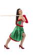 junge sexy brünette Frau im Weihnachtskostüm