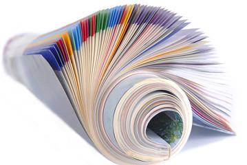 rolled magazine isolated