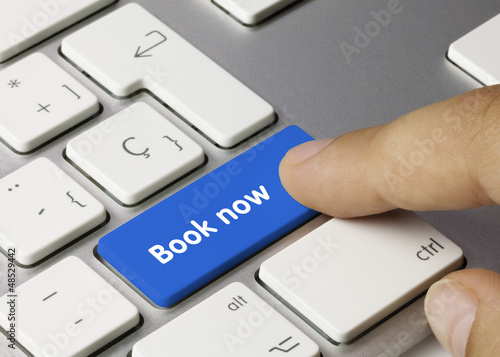 Book now keyboard key. Finger