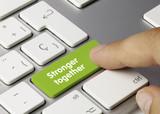 Stronger together keyboard key. Finger poster