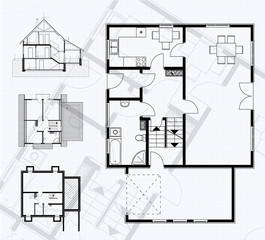 floor plan blueprint. vector illustration