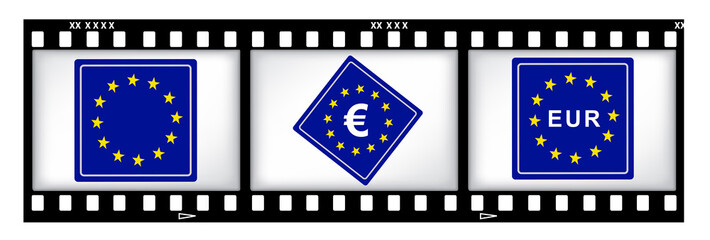 Europe currency on film background