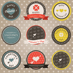 Badges rétro St Valentin