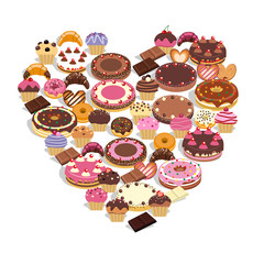 Dulces formando un corazón