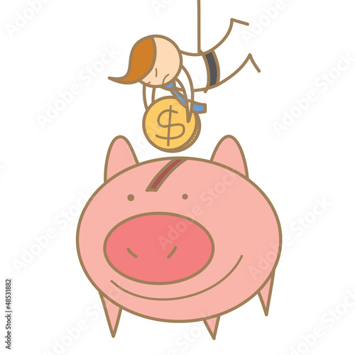 cartoon character of  man hanging to save money