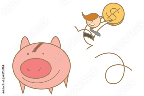 cartoon character of  man jumping to save money