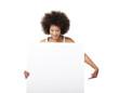 Woman holding a white billboard