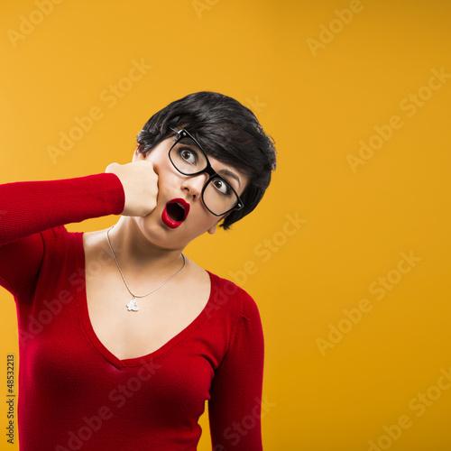 Girl punching himself