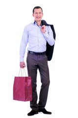 man with bags for shopping on a white background