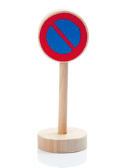 Wooden toy sign: Parking restricted