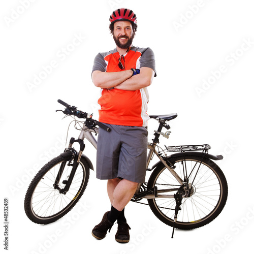Bearded Mountain Biker Smiling (isolated)