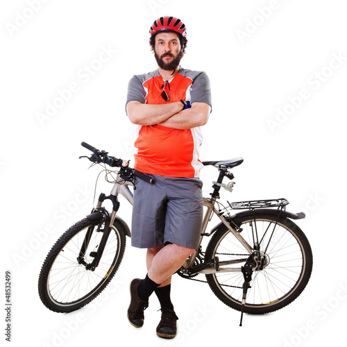 Bearded Mountain Biker Serious (isolated)