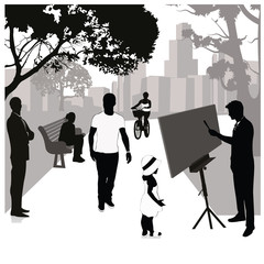 Vector Illustration: Painting in the park