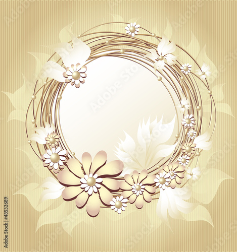 Scrapbooking floral  frame in Gold colors