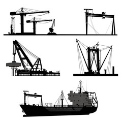Ship and crane.Vector elements