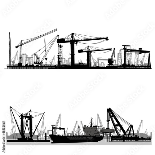 Shipyard, harbor skyline vector silhouette - 48532865