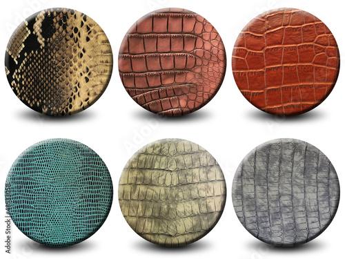 6 boutons texture peau de crocodile et serpent