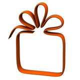 Orange gift box frame, 3d