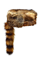 Fur Crockett hat with a racoon tail