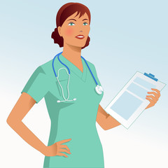 Portrait of a nurse with a stethoscope and a a chart