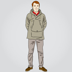 Illustration of young men in casual clothing