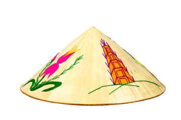 Vietnamese conical bamboo hat on white