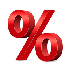 3D red percent sign, sale symbol